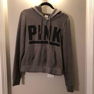 VS Pink, grey zip-up sweater